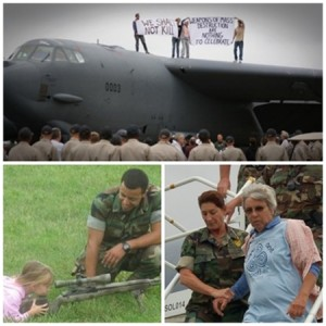 "Beth Brockman, Kristin Saddler, Susan Crane and Steve Baggarly hold signs on the wings of a B-52 bomber: ""We shalt not kill"" and ""Weapons of Mass Destruction. Nothing to Celebrate.""  (Sept. 20, 2008, Oceana Naval Base, Virginia)"