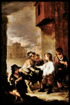 ST. THOMAS OF VILLANUEVA DIVIDING HIS CLOTHES AMONG BEGGAR BOYS (1667) by Bartolomé Esteban Murillo at the Cincinnati Museum of Art