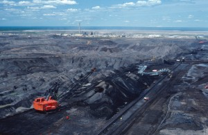 Tar sands mining in former arboreal forest.