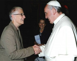 Pax Christi co-president Marie Dennis and Pope Francis