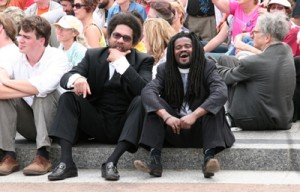 Cornel West and Sekou at anti-war protest in D.C. in Sept. 2005. (Matthew Bradley, Creative Commons)
