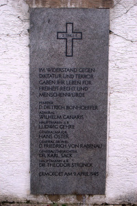 "Flossenberg memorial to resistance members killed April 9, 1942. 2 Timothy 1:7: ""For God did not give us a spirit of timidity, but a spirit of power, of love and of self-discipline."""