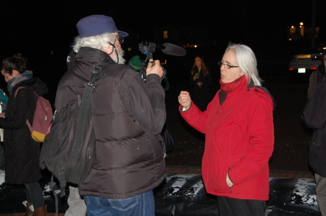 Rose speaking with media at anti-Keystone XL rally in front of White House on February 3, 2014. (Linda Swanson)