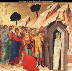 Resurrection of  Lazarus by Duccio Di Buoninsegna (1308-11)