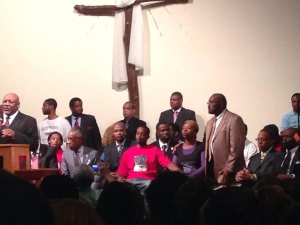 Family of Michael Brown gather at Greater St. Mark's Family Church in Ferguson, MO.
