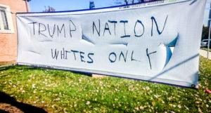 A Silver Spring, Md. church with a large immigrant population was vandalized with racist messages, Saturday, Nov. 12, 2016. (Courtesy Robert Harvey, Episcopal Church of Our Savior)